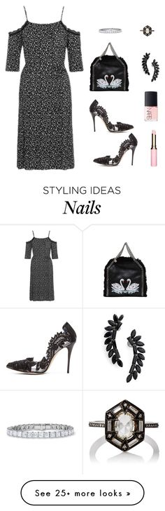"""""""Swan Lake"""" by ember-violet on Polyvore featuring STELLA McCARTNEY, Topshop, Oscar de la Renta, Clarins, NARS Cosmetics, Cristabelle and Cathy Waterman"""