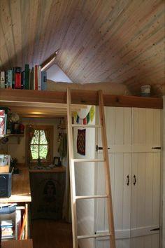 Tiny house tiny house. Cozy interior and loft of this tiny house