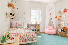 Toddler's Whimsical Bedroom Makeover Love the aqua rug + rainbow scalloped reading canopy. Neutral walls + lots of pops of color. The post Toddler's Whimsical Bedroom Makeover appeared first on Welcome! Big Girl Bedrooms, Little Girl Rooms, Modern Girls Rooms, 4 Year Old Girl Bedroom, Whimsical Bedroom, Quirky Bedroom, Trendy Bedroom, Baby Bedroom, Girl Toddler Bedroom