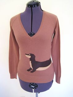 Wrapped Dachshund Sweater in Camel color