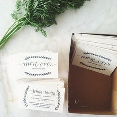 Jenna Rainey // Mon Voir - New logo and business cards! It's fun having a mom who can silk screen and letterpress!