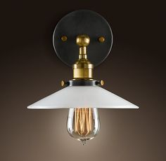 Milk Glass Filament Sconce Aged Steel  $139 plus 13 dollars for the bulb