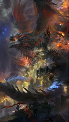 Deathwing Old Gods Daily World of Warcraft Art Board ^^ // Blizzard // wow // Hearthstone // Geek Fantasy Monster, Monster Art, Fantasy Artwork, Fantasy Creatures, Mythical Creatures, Dungeons And Dragons, Guerrero Dragon, Dragon Medieval, Illustration Fantasy