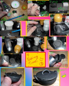 """Instructions to make miniature """"Cooking Pot"""" out of clay for dollhouse kitchen Tutorial by Kayanah"""