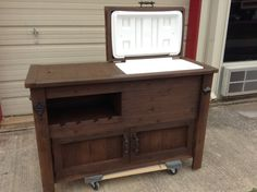 Rustic Wooden Cooler Table Bar Cart Wine With Mini Fridge Console Storage Cabinet Outdoor Rolling Reclaimed Wood
