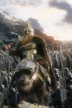 "Dain Ironfoot arriving in style. ""Good MORNIN'!!"" XD Best part of the movie."