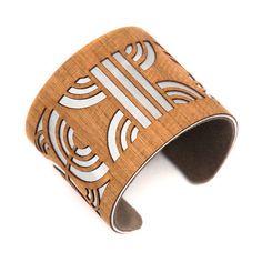 Art Deco Laser Cut Wood Cuff Bracelet Path / Modern by ShopJoyo, $65.00