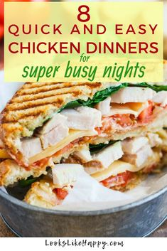 8 Quick and Easy Chicken Dinner Recipes for Busy Nights - Looks Like Happy  #chicken #dinnerideas #chickendinner #easydinner #whatsfordinner #weeknightdinner #dinnerrecipes