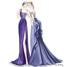 Marchesa Resort 2017; fashion illustration by Draw A Story.