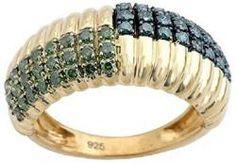 Goldenstar 0.47Ct Green Diamond Ring 925 Sterling Silver Ring