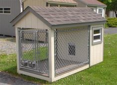 American Made Dog Kennel You can customize this cozy outdoor kennel for your dog with lots of colors to choose from. Includes two feeder bowls and a full size door for easy access.