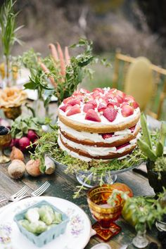 Naked cake with strawberries on a farm-themed table.