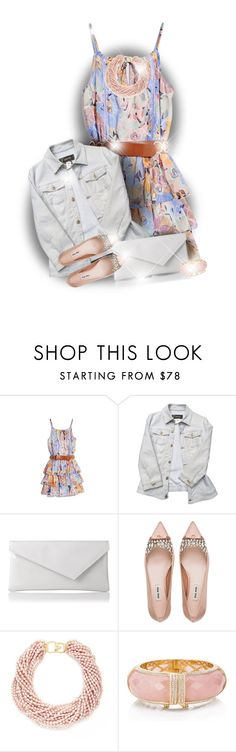"""""""He Loves Me, He Loves Me Not"""" by fallas-celeste1893 ❤ liked on Polyvore featuring GUESS by Marciano, Versace, L.K.Bennett, Miu Miu, Kenneth Jay Lane and Kate Spade"""
