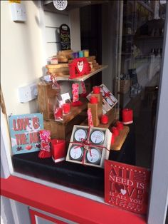 Shop & Studio window display for Valentine's Day Handmade Candles, Be My Valentine, Shop Ideas, Diffuser, Gift Wrapping, Window, Display, Studio, Holiday Decor
