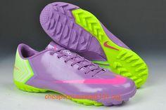 Medium Purple Hot Pink Fluorescent Green Nike Mercurial Vapor X TF Soccer Cleats