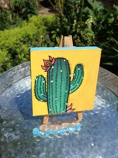 This cute cactus is available on my Etsy for just £7!! *SOLD* Cactus Drawing, Cactus Painting, Painting & Drawing, Symbolic Art, Moonlight Painting, Simple Canvas Paintings, Mini Canvas Art, Aesthetic Painting, Cool Art Drawings