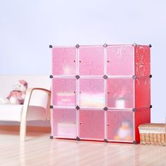 Nice DIY Home Storage Cube Cabinet For Clothes, Shoes, Bags, Office, Red (9)  Cubitbox