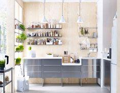 Cuisine Ikea : Nouveautés IKEA 2015 : le meilleur en image Create a beautiful and modern contrast with stainless steel RUBRIK drawers, wood and greenery Ikea 2015, Simple Kitchen Design, Kitchen Layout, Kitchen Decor, Kitchen Ideas, Kitchen Shelves, Minimal Kitchen, Kitchen Rustic, Cozy Kitchen