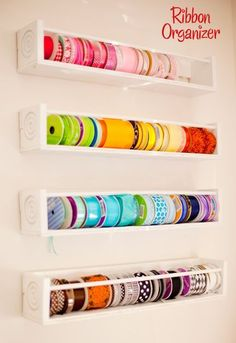 Direct link to make it yourself shelves(I need to make at least one for each color)! #Ribbonstorageideas