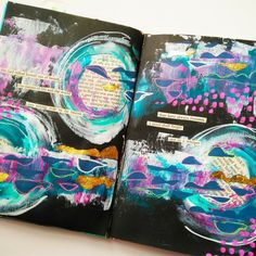 StencilGirl Products - What lovely art journaling by Karen-Gaunt.Com with Raemissigman's Shoreline stencil! See Karen's video on her blog post at https://www.karen-gaunt.com/blog/journal-share-not-in-a-whisper!