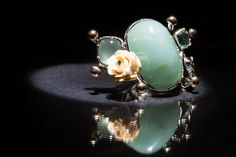 Ring from the Trend Focus collection by Marco Cruz Joalheiro. Silver and gold, aquamarines, ivory rose and blue diamond. Aquamarines, Soft Colors, Jewelry Collection, Gemstone Rings, Ivory, Brooch, Jewellery, Diamond, Rose