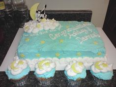 ...and the cow jumped over the moon Baby Shower cake and cupcakes