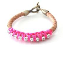 Leather Rhinestone Rope Bracelet from Nicolux