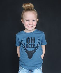 Look at this The Talking Shirt Steel Blue 'Oh Deer' Tee - Toddler & Kids on #zulily today!