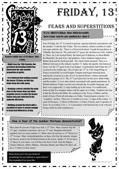 Friday 13th Fears and Superstitions worksheet - Free ESL printable worksheets made by teachers