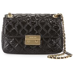 MICHAEL Michael Kors Sloan Large Chain Quilted Shoulder Bag ($298) ❤ liked on Polyvore featuring bags, handbags, shoulder bags, black, snakeskin purse, python handbag, quilted shoulder bag, black shoulder bag and snakeskin handbags