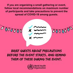 Brief guests about precautions before the event starts and remind them of these during the event. #COVID19 Team Building Activities For Adults, Building Games, Wedding Activities, Volunteer Appreciation, World Health Organization, Trend Fashion, International Health, Down South, How To Protect Yourself