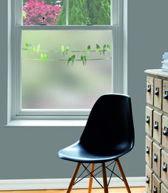 How to get privacy at your windows with window film - a guide to the options from classic frosted to bold Victorian or contemporary designs Window Glass Design, Frosted Glass Design, Glass Guru, Curtain Alternatives, Farmhouse Dining Chairs, Dining Room, Childrens Rocking Chairs, Window Privacy, Eames Chairs
