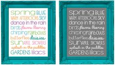 Print Subway Art printable perfect for springtime. Available in vibrant colors or a sophisticated white on grey. Spring Ahead, Spring Art, Spring Is Here, Spring Time, Easter 2013, Retail Displays, Decor Ideas, Craft Ideas, Snowman Crafts