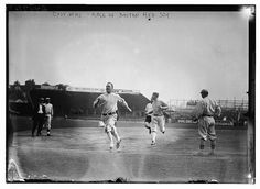 AJ (@NCSox) tweeted at 10:34 PM on Fri, Aug 29, 2014: One more 1912 photo. #RedSox players racing before a game. Great shot of Fenway in its inaugural season.