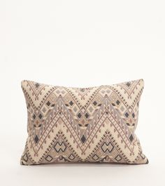 "Neutral Zigzag Pillow:  Inspired by the traditional ""guipil"" (blouse) commonly worn by women in Chichicastenango, Gautemala.  Each pillow takes 15 days to weave on a Mayan backstrap loom.  Made in Guatemala. 