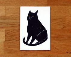 Black Cat - hand coloured screen-print