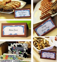 Toy Story Birthday Theme- Cute food and name ideasToy Story Party . Toy Story Party - Ideas for desserts and decorations for a DIY Toy Toy Story Food, Toy Story Theme, Festa Toy Story, Toy Story Birthday, Toy Story Party, Birthday Party Menu, 4th Birthday Parties, Birthday Fun, Birthday Ideas