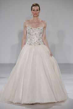 A blushing ball gown with an allover beaded bodice from Maggie Sottero. (Photo: Dan Lecca)