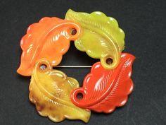 Vintage 1930's Multi Color Celluloid Leaf Pin | eBay