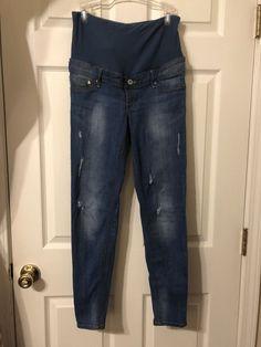 bf892a6f68 H amp M MAMA Maternity Skinny Jeans Denim Size 8 Full Panel High Rib  Distressed