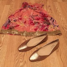 Talbots gold sparkle flats Talbots gold bling flats, worn one time like new! Tag still on the bottom. Talbots Shoes Flats & Loafers