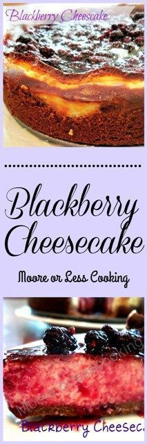 Creamy Blackberry Cheesecake with a nutty cookie crust.