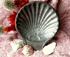 Rustic Metal Shell Dish farmhouse decor Nautical scallop shell