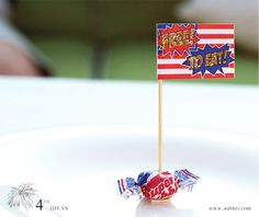 Use a truffle/some other edible and then put names on the flag. Free to eat fourth of july flag place cards