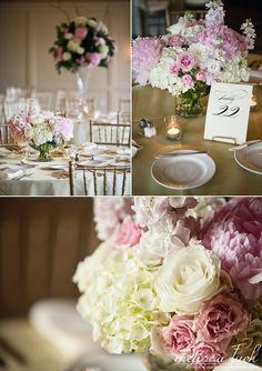 low centerpiece: peonies, roses, hydranggeas, stock » Melissa Tuck Photography Blog