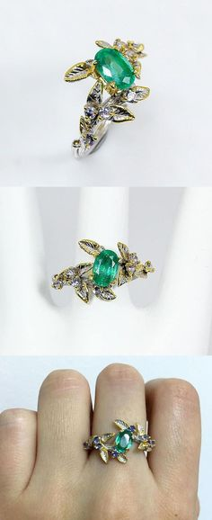 Botanical emerald ring, Jewelry gifts for mom, May Birthstone twig branch ring, Anniversary jewelry wife, emerald engagement ring leaves  This is an impressive ring in forest style with two genuine gemstones: green emerald and blue tanzanite. They are May and December birthstones. The twig branch has many leaves with incrusted gemstones framing the most incredible green emerald in oval shape. The ring is custom made and unique! Custom and unique engagement ring that will bring joy every day.