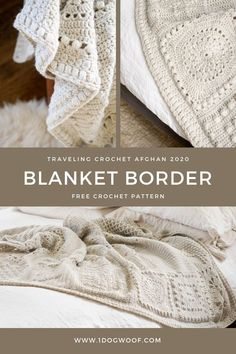 This simple crochet border uses puff stitches and clusters to add modern sophistication to any blanket. Free pattern at www.1dogwoof.com Crochet Blanket Border, Modern Crochet Blanket, Easy Crochet Blanket, Baby Afghan Crochet, Crochet Squares, Knitted Blankets, Simple Crochet, Quick Crochet, Crochet Border Patterns