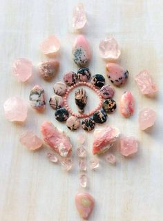 Rhodonite, Rodochrosite, Rose Quartz, Pink Andean Opal and Morganite To love one self is to love the whole °Woodlights Woudlicht Never enough reminders of love. Crystals Minerals, Rocks And Minerals, Crystals And Gemstones, Stones And Crystals, Healing Crystals, Selenite Crystals, Chakra Crystals, Gem Stones, Healing Stones
