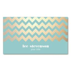 Gold Chevron Pattern and Turquoise Blue Business Cards for Fashion Designers, Stylists, Makeup Artists, And Cosmetologists.