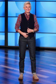 Jil Sander vest, GANT shirt, 3sixteen denim, Satore shoes. @Ellen DeGeneres